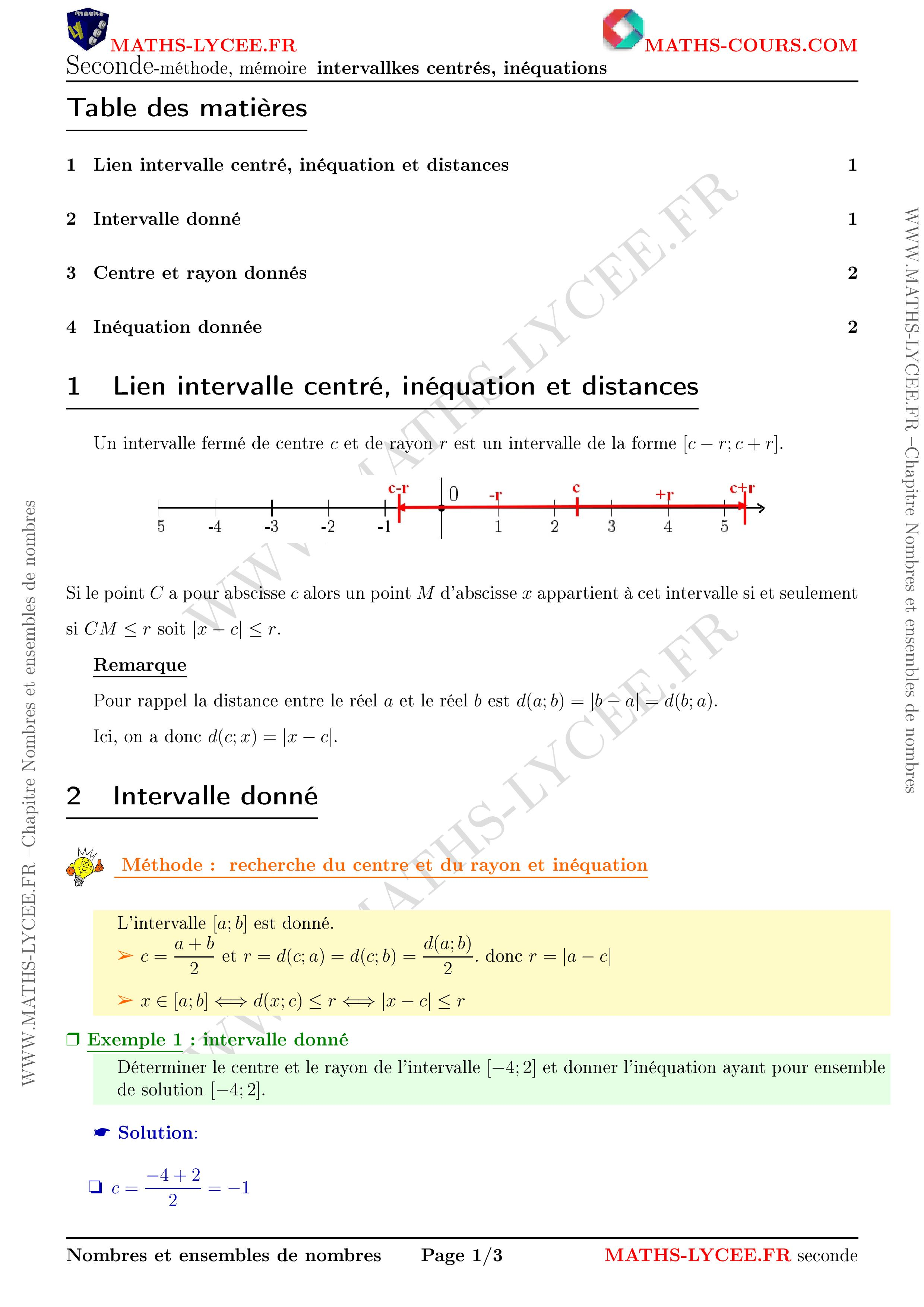 Maths Lycee Fr Cours Et Exemples Corriges Chapitre Ensembles De Nombres Et Intervalles
