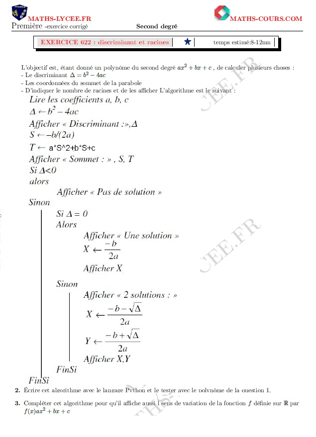 MATHS-LYCEE.FR exercice corrigé chapitre Second degré